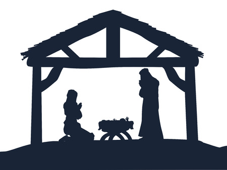 赤ちゃんメアリーとマネージャーでイエスとシルエットでヨセフの伝統的なキリスト教クリスマス キリスト降誕のシーン