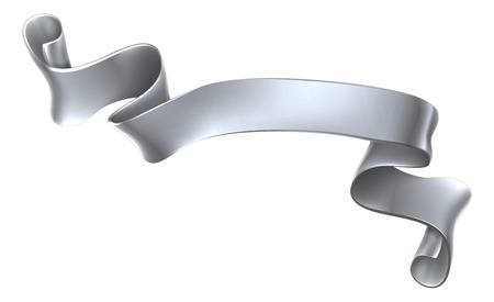A silver steel metal banner scroll design