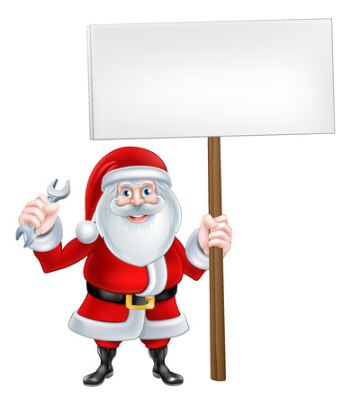 A Christmas cartoon illustration of Santa Claus holding a spanner wrench tool and blank sign