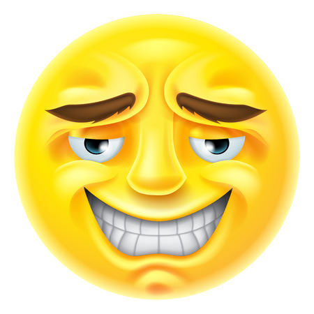 An emoji emoticon character smiling in an embarrassed or unctuous way
