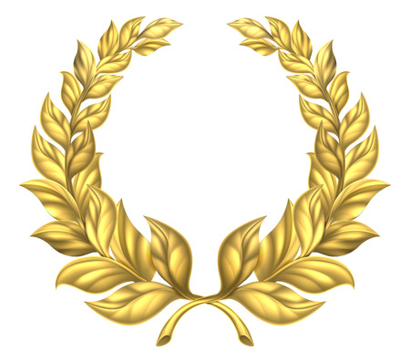 A golden laurel wreath design element illustration of a circular gold wreath made up of two branches