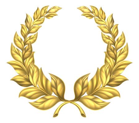 Una corona d'alloro d'oro elemento di design illustrazione di una corona d'oro circolare composto da due rami Archivio Fotografico - 46975625