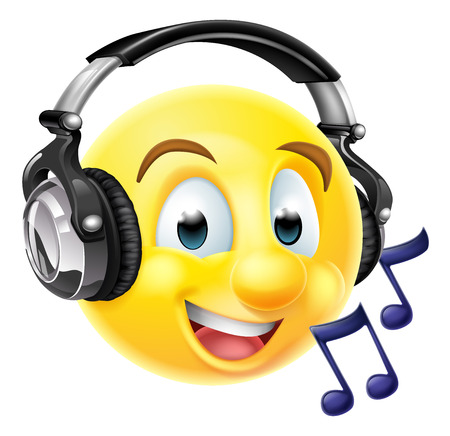 An emoticon emoji wearing headphones and listening to music or singing along.  With musical notes