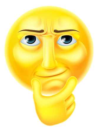 A thinking emoji emoticon smiley face character looking interested with hand on chin Illustration