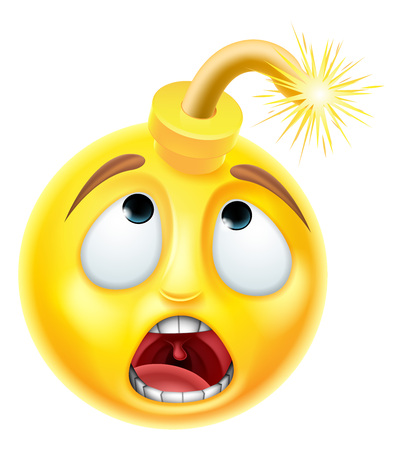 A bomb emoji emoticon smiley face character with a scared look on his face Stock Illustratie