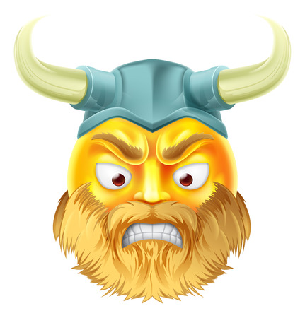 A viking emoji emoticon smiley face character looking very angry