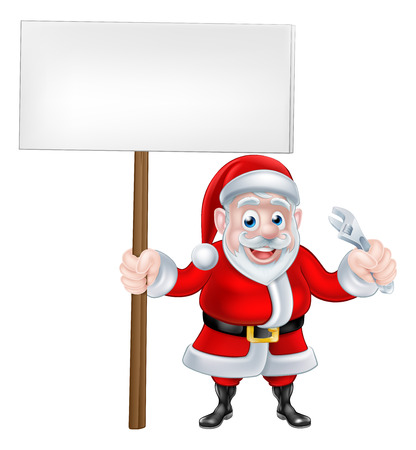 Santa Claus holding a sign and spanner wrench