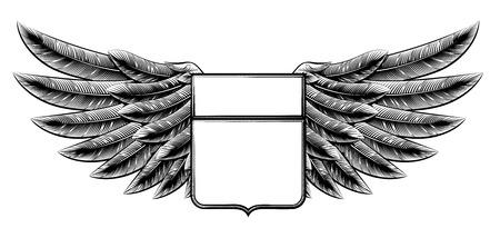 Ilustración original de estilo de grabado de la vendimia escudo con alas adorno insignia Foto de archivo - 47536180
