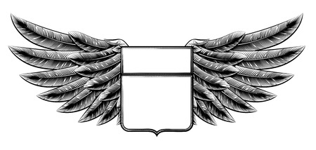 Original illustration of vintage woodcut style winged shield insignia motif