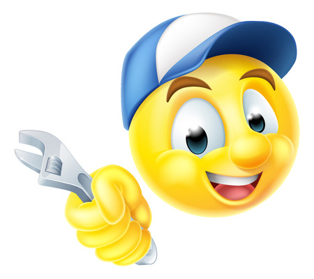 A cartoon mechanic or plumber emoticon emoji holding a spanner or wrench and wearing a cap