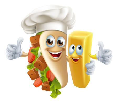 Personajes de alimentos Kebab y Chip Amigo