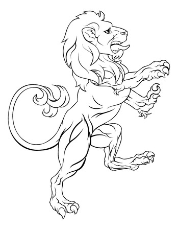 A rampant lion like those on a crest or coat of arms on hind legs