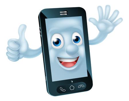 핸드폰 만화 캐릭터 흔들며주고 엄지 손가락 최대 스톡 콘텐츠 - 47536284