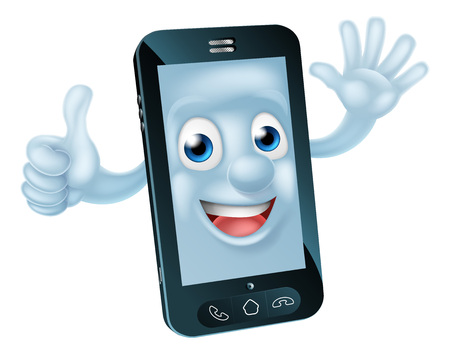 Mobile phone cartoon character waving and giving a thumbs up