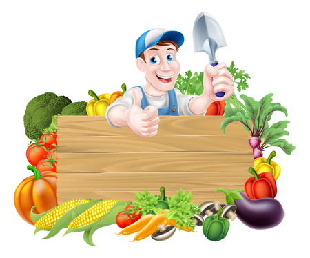 Vegetable gardener cartoon character sign. A cartoon gardener  holding a garden trowel tool above a wooden sign surrounded by vegetables Ilustração