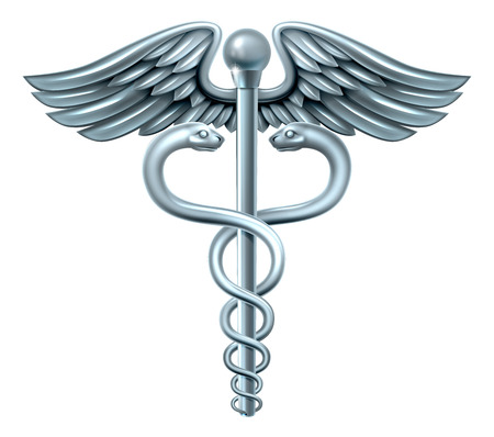Símbolo médico del caduceo o símbolo para el comercio que ofrece serpientes entrelazadas alrededor de una barra de alas