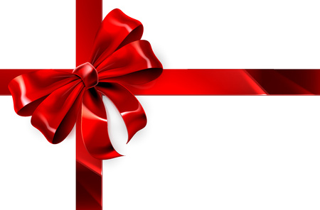 A red ribbon and bow from a Christmas, birthday or other gift wrapping design element