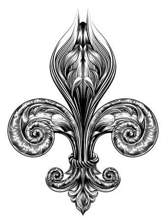 Fleur de lis decorative design element or heraldic symbol in a vintage woodblock style