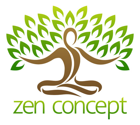 Conceptual design element of a tree in the shape of a figure sitting crossed legged in a zen yoga lotus position or meditating crossed legged