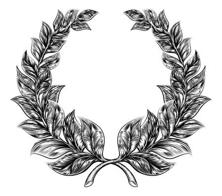 Une illustration originale d'une couronne de laurier dans un style woodblock ou xylographie millésime Vecteurs