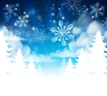 Winter Kerstbomen sneeuw achtergrond met wolken en sterren. Verdwijnt naar wit aan de bodem voor gemakkelijk gebruik als grens ontwerp of header. Stock Illustratie
