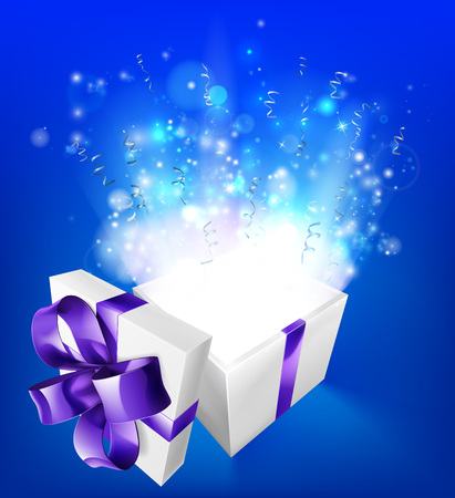 A glowing magical gift box concept for an exciting birthday, Christmas or other gift or present.