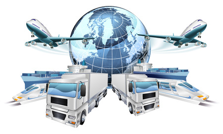 Logistics transport concept of planes, trucks, trains, and cargo ship coming out of a globe Ilustracja