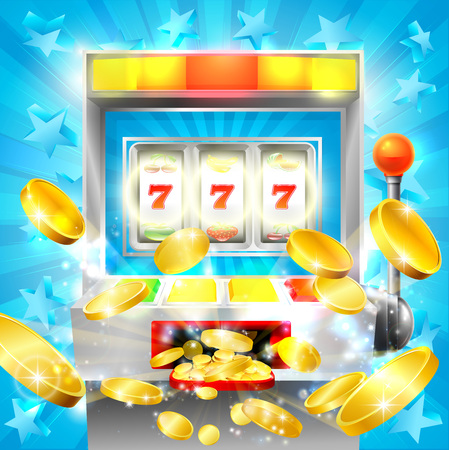 Slot machine casino jackpot concept with a slot or fruit machine hitting lucky 777 and gold coins flying out