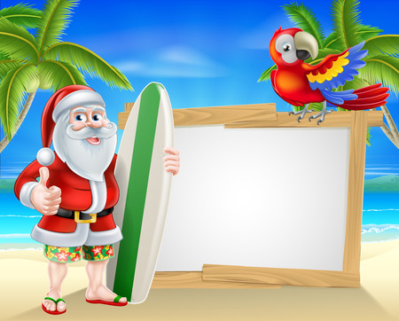 Cartoon of Santa Claus holding a surf board and giving a thumbs up in his Hawaiian board shorts and flip flop sandals in front of a sign on a beach with a parrot on the sign and palm trees in the background