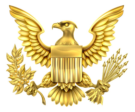 Gold American Eagle Design with bald eagle of the United States holding an olive branch and arrows with American flag shield Stock Illustratie