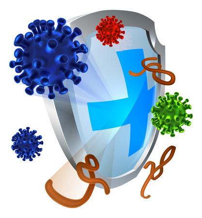 Antibacteriële of anti-virus schild bescherming concept van een schild met een bacterie of virus cellen stuiteren eraf