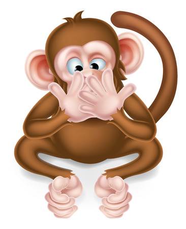 Speak no evil cartoon wise monkey covering his mouth 向量圖像