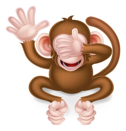 No ven mal de dibujos animados mono sabio que cubre sus ojos Foto de archivo - 48139731