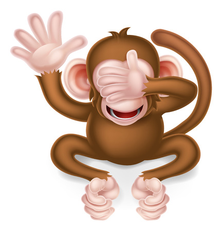 See no evil cartoon wise monkey covering his eyes Illustration