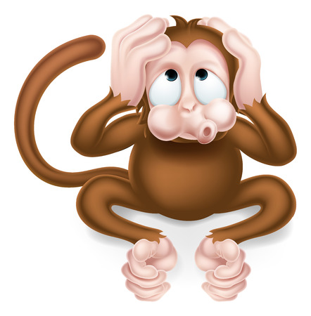 Haer no evil cartoon wise monkey covering his ears Illustration