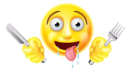 Muy hambrientos hambrientos emoji emoticon carácter cara sonriente babeo y sosteniendo un cuchillo y tenedor