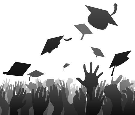 Graduados multitud graduación concepto de estudiante manos en silueta lanzando sus gorras junta de mortero en el aire