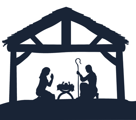 Traditional Christmas Nativity Scene of baby Jesus in the manger with Mary and Joseph in silhouette Иллюстрация