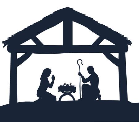 Traditionele kerst kerststal van het kindje Jezus in de kribbe met Maria en Jozef in silhouet