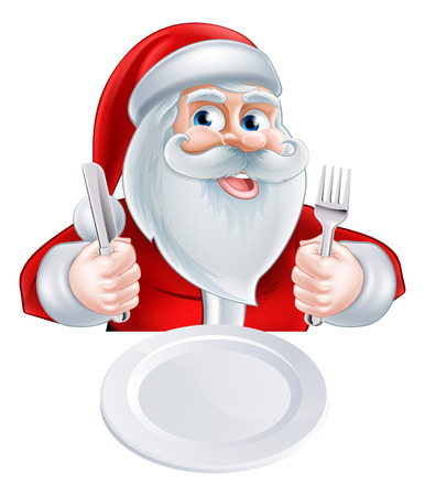 A Christmas cartoon illustration of Santa Claus ready for his Christmas meal