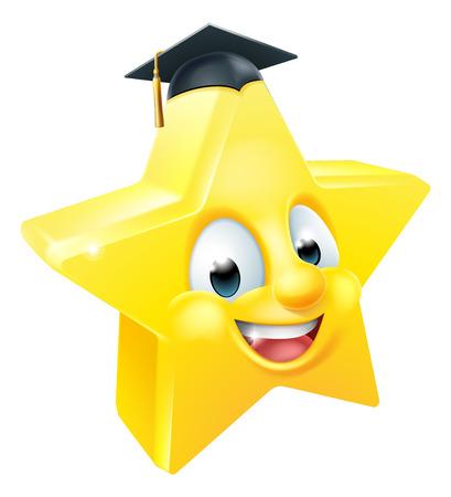 Cartoon star graduate emoji emoticon mascot character wearing a mortar board graduation hat Illustration