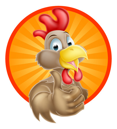 A fun happy cartoon chicken mascot giving a thumbs up