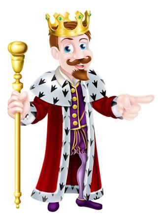 왕관을 쓰고 왕권을 잡고 엄지 손가락을 포기하는 친절한 왕의 만화 캐릭터 일러스트