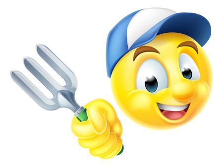 A cartoon gardener emoji emoticon icon holding a garden fork