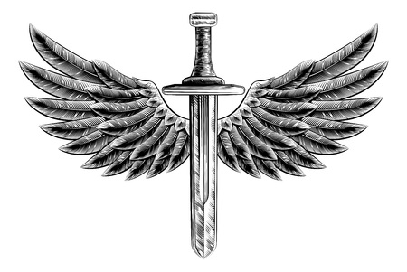 Original illustration of vintage woodcut style sword with eagle bird or angel wings Vetores