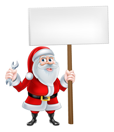 Cartoon Santa Claus holding a spanner and sign board Illustration