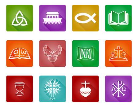 A set of Christian religious icons and symbols including Christian fish, crosses and others