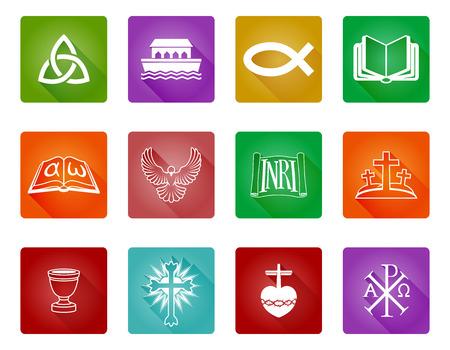 Un ensemble d'icônes et de symboles religieux chrétiens, y compris poissons chrétiens, croix et autres