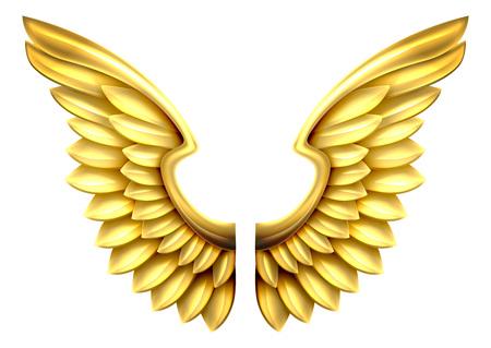 금 또는 황금 반짝이 금속 날개의 쌍 일러스트
