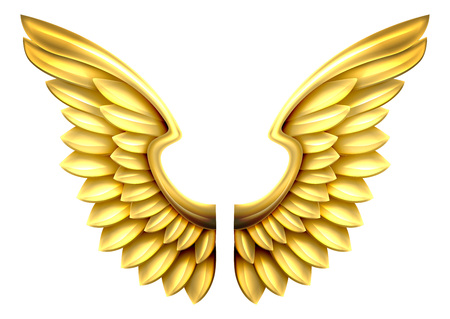 A pair of gold or golden shiny metal wings Иллюстрация